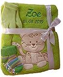 Babydecke mit Namen bestickt Babysocken Baby Geschenk Geburt Taufe (grün Leopard)