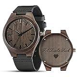 Shifenmei Herren Uhr Quarz Analog Gravur Holzuhr mit Leder Armband Personalisiertes Geschenk für Geburtstag...