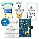 40 Baby Meilenstein-Karten für Jungen mit hochwertiger Verpackung von Cozy Racoon (Sprache Deutsch) -...