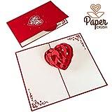 PaperCrush® Pop-Up Karte 3D Herz - Romantische Geburtstagskarte für Sie und Ihn, Besondere Liebeskarte zum...