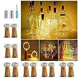 【12 Stück】Nasharia 20 LEDs 2M Flaschen Licht Warmweiß, Lichterkette für Flasche LED Lichterketten...