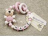 Baby Greifling Beißring geschlossen mit Namen - individuelles Holz Lernspielzeug als Geschenk zur Geburt...