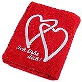 Abc Casa rotes Handtuch mit Herzen Ich Liebe Dich-romantische Geschenke zum Geburtstag, Jahrestag,...