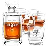 Murrano Whiskey Karaffe + 6er Whiskygläser Set mit Gravur - 700ml Whisky Dekanter - Geschenk zum Geburtstag...