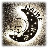 LED Nachtlicht Bär auf Mond mit Name personalisiert I Einzigartige Taufgeschenke Geschenke zur Geburt und...